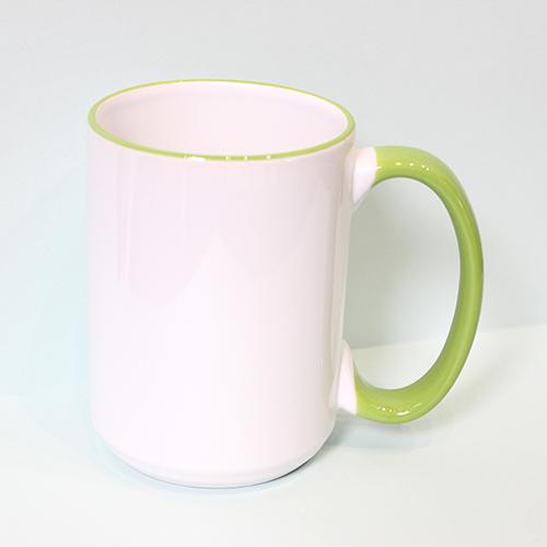 Чашка с цветным ободком и ручкой