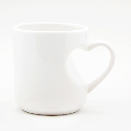 Чашка белая ручка-сердце, 330 мл